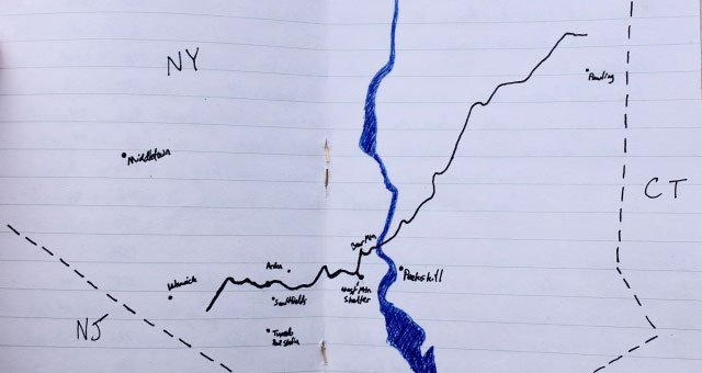 A map depicting a long walk from Warwick, NY to Pawling, NY.