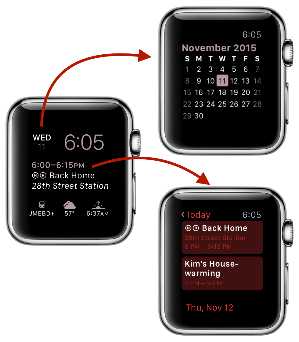screenshot: the Apple calendar complication launches your appointments and the Better Day calendar complication launches the Better Day calendar