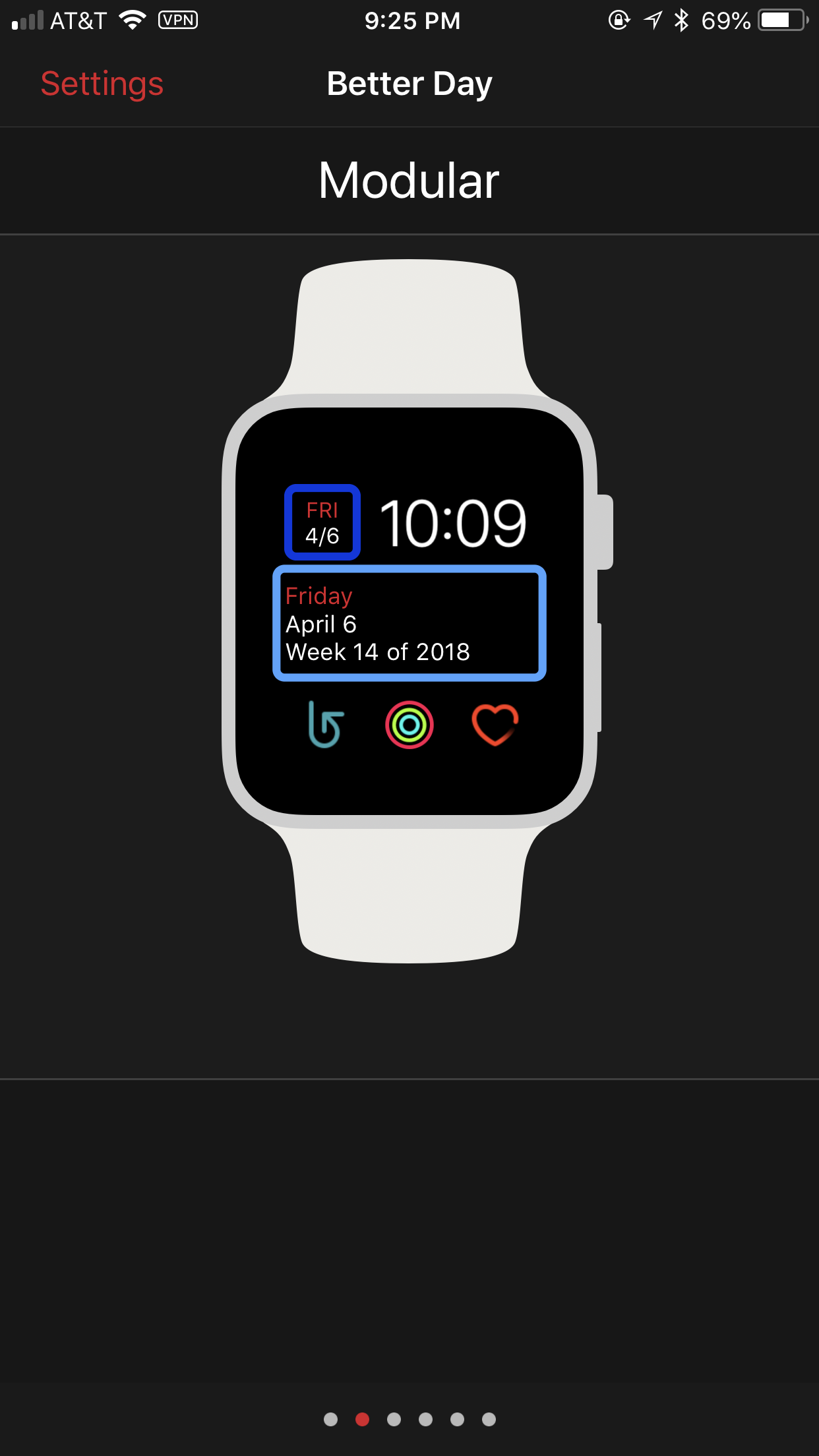 screenshot: the configurator displaying the modular watch face with Better Day in the top left and centerpiece slots