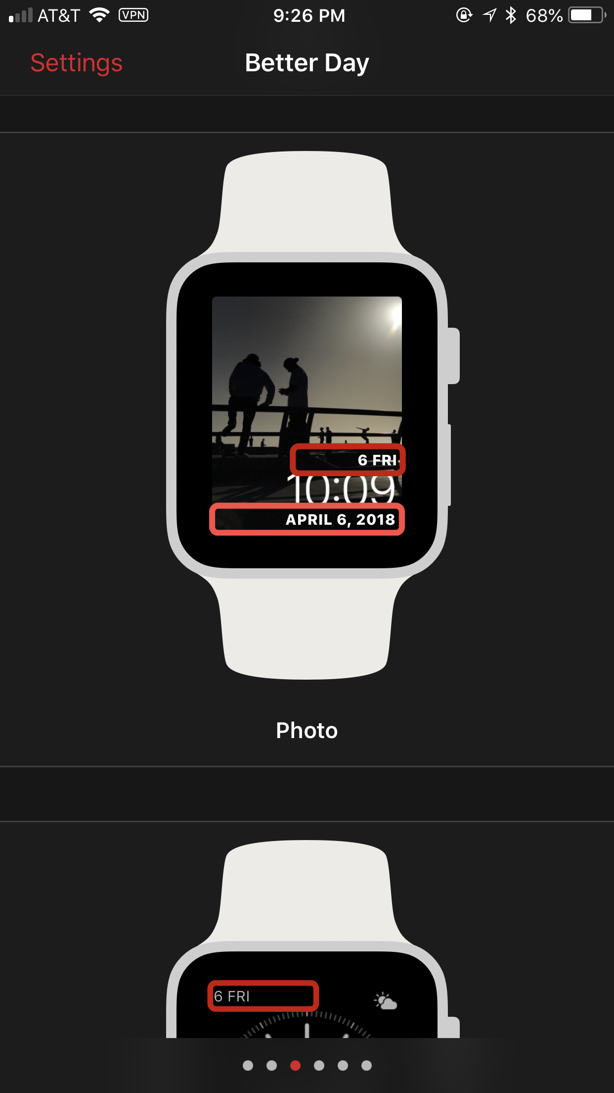 screenshot: the configurator displaying the photo watch face with Better Day in both the slot above and below the time. At bottom, the simple watch face is also visible showing Better Day in one of the corners.