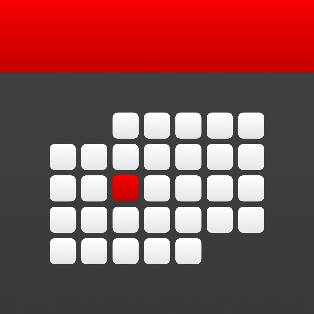Icon: a white and red calendar on a dark gray background