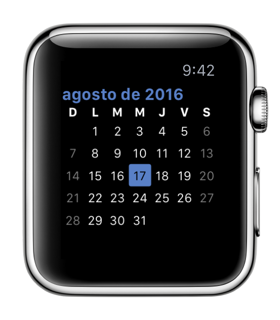 screenshot: a calendar in Spanish with a Sunday start (as in Mexico)