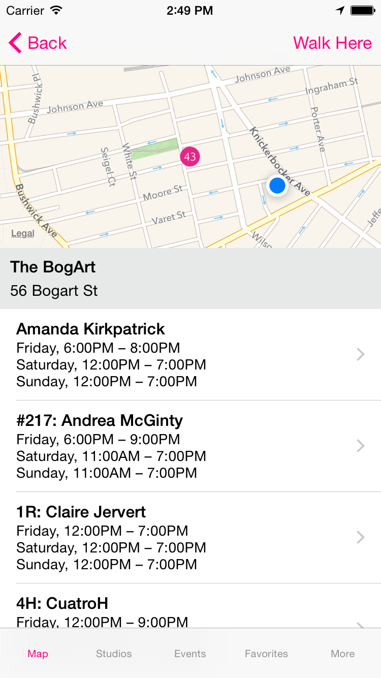screenshot of the BOS app displaying a list of events at 56 Bogart Street