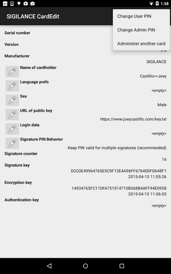 screenshot of the SIGILANCE CardEdit app listing information on a card