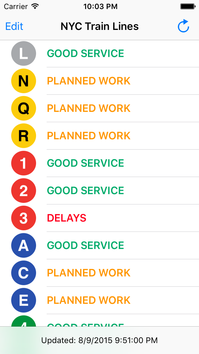 Screenshot: the TrainFace main interface, listing subway lines and their status.