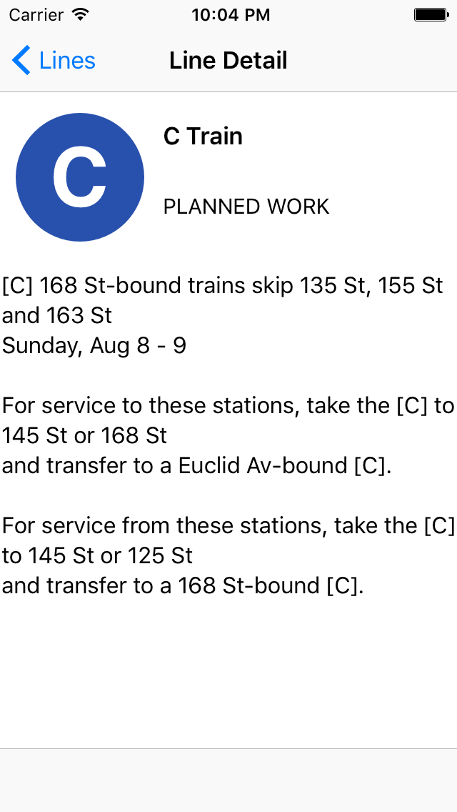 Screenshot: the TrainFace detail interface, showing planned work on the C train