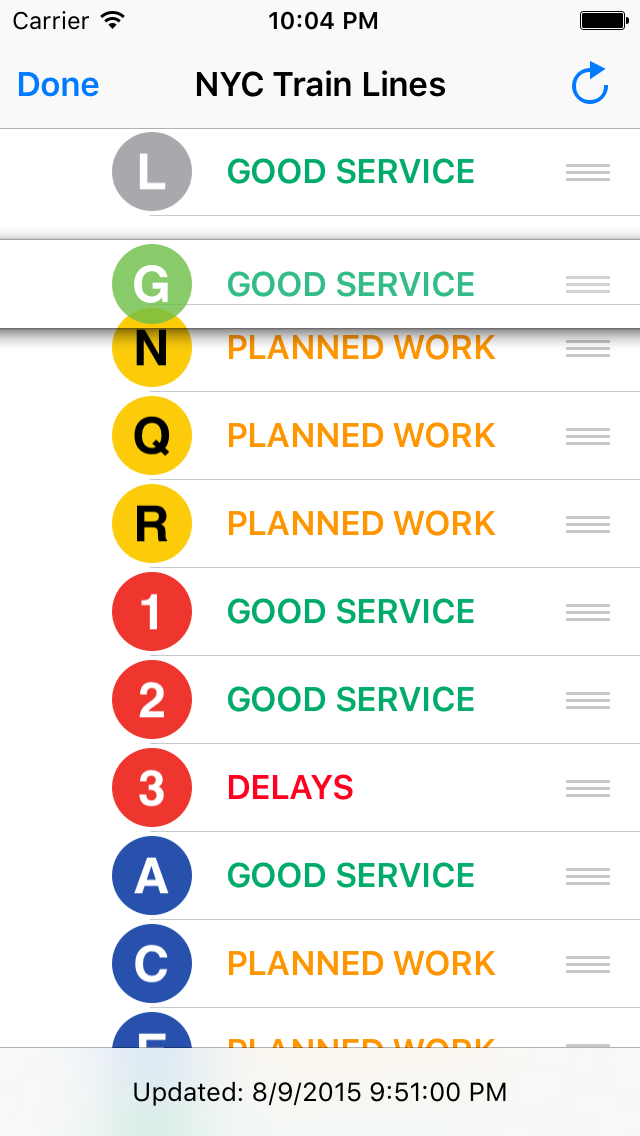 Screenshot: the TrainFace main interface as the user rearranges the G train to appear below the L train