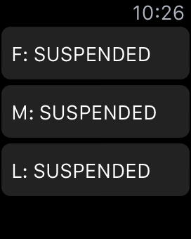 Work in progress: a bare list showing F M and L trains suspended