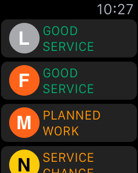 Screenshot: the list with icons for the train lines and color coded service status for the L, F, M and N lines.