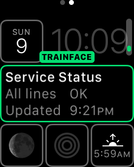 Screenshot: the apple watch complication selection interface, selecting TrainFace in the modular centerpiece slot