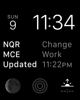 Screenshot: the TrainFace Apple Watch complication, in the centerpiece of the Modular watch face, showing a service change on the N Q and R trains, as well as planned work on the M C and E trains