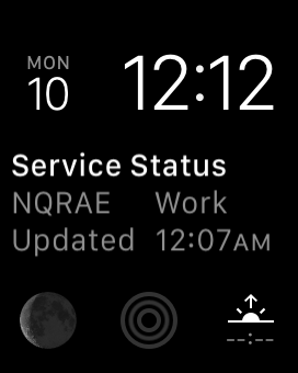 Screenshot: the TrainFace Apple Watch complication, in the centerpiece of the Modular watch face, showing planned work on the N Q R A and E trains