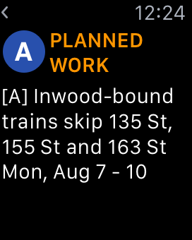 Screenshot: the TrainFace Apple Watch detail interface, showing planned work on the C line
