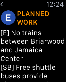 Screenshot: the TrainFace Apple Watch detail interface, showing planned work on the E line