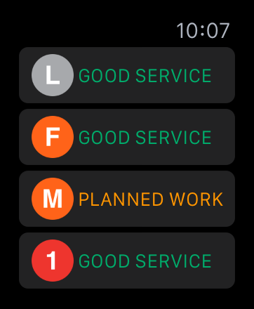 Screenshot: the TrainFace Apple Watch interface, listing subway lines and their status