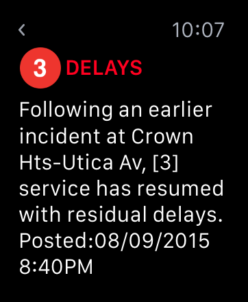 Screenshot: the TrainFace Apple Watch detail interface, showing delays on the 3 line