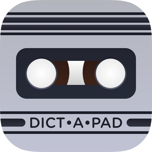 Icon: a stylized microcasette tape in cool light gray bearing the word Dict a Pad divided into syllables.