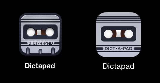 A side-by-side comparison of the old and new Dictapad icons