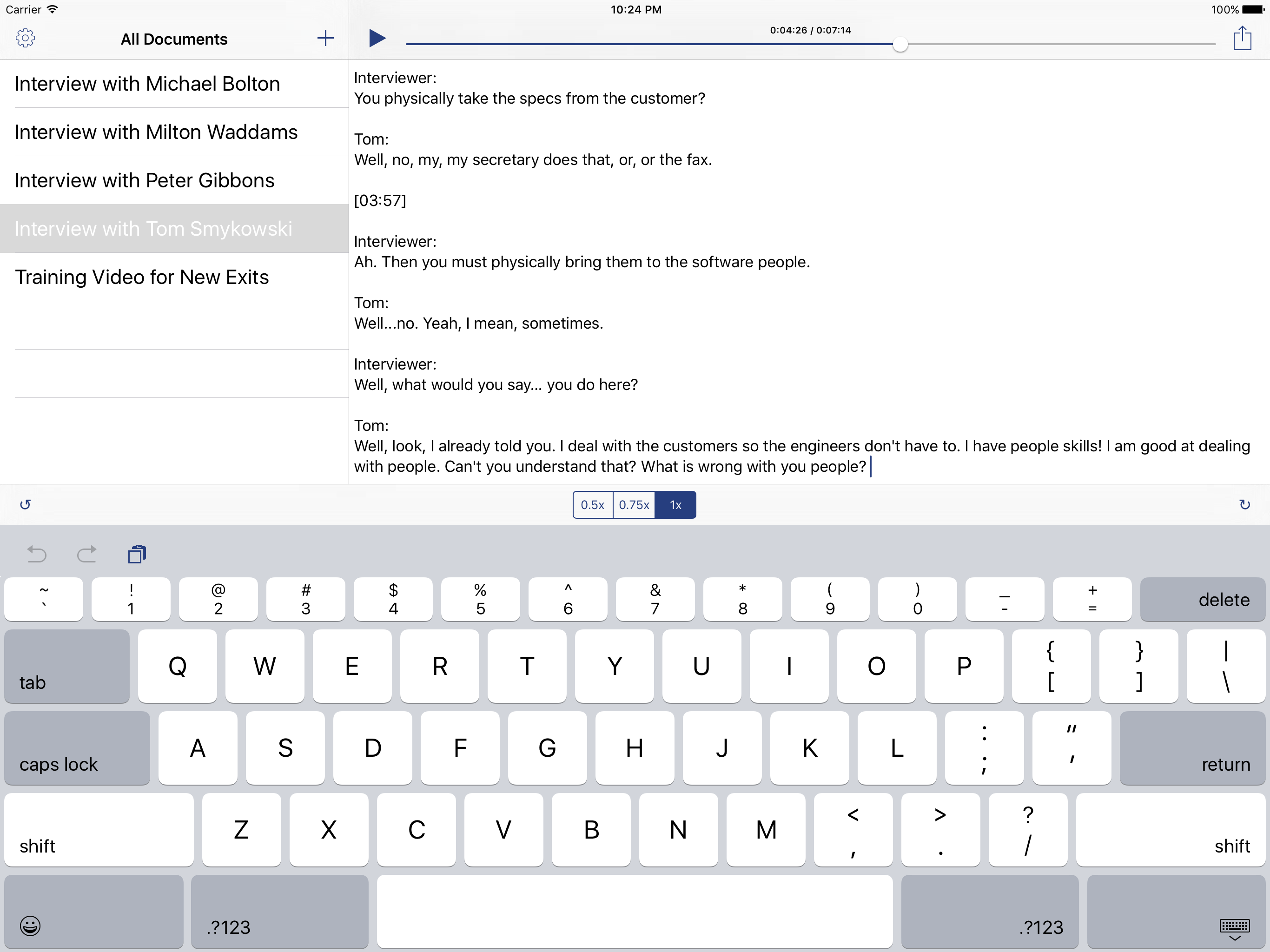 A screenshot of Dictapad under iOS 9