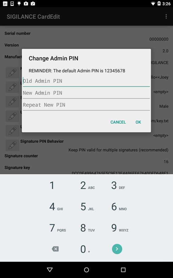 screenshot of the SIGILANCE CardEdit app's PIN change interface