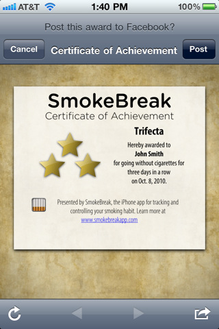 A certificate of achievement in the SmokeBreak app, awarded for going three days without a cigarette.